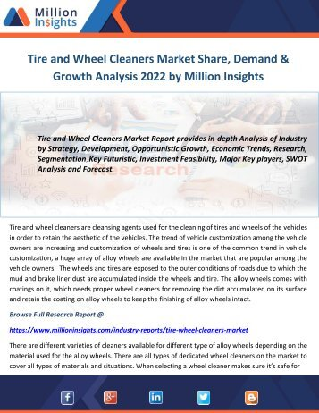 Tire and Wheel Cleaners Market Share, Demand & Growth Analysis 2022 by Million Insights