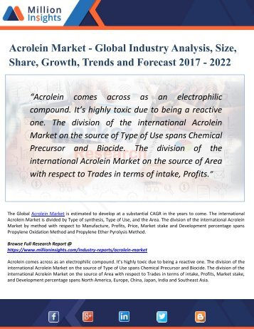 Global Acrolein Market - Global Industry Opportunities and Key Manufacturer Report 2017-2022