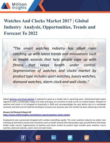 Watches And Clocks Industry Overview, Analysis, Supply, Sales and Forecast 2017-2022