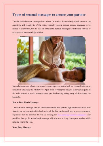 Types of sensual massages to arouse your partner