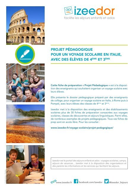 Dossier Pédagogique Voyage Scolaire En Italie