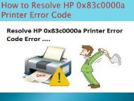 8005769647 How to Resolve HP 0x83c0000a Printer Error Code
