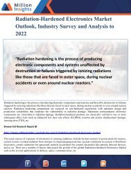 Radiation-Hardened Electronics Market Outlook, Industry Survey and Analysis to 2022