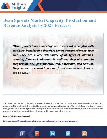Bean Sprouts Market Capacity, Production and Revenue Analysis by 2021 Forecast