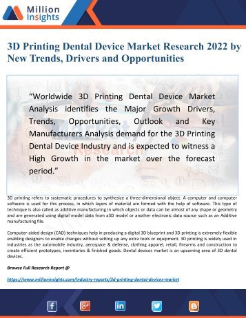 3D Printing Dental Device Market 2022 Driven by Applications, Key Players