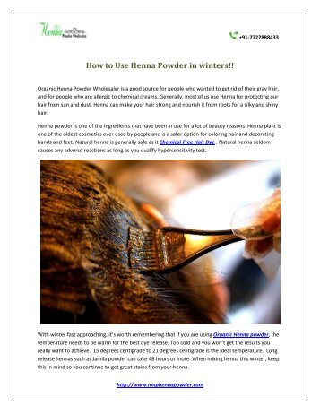 How to Use Henna Powder in winters!!