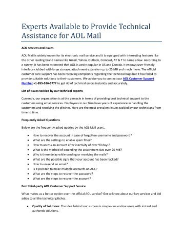 AOL Customer Service Number +1-855-536-5777