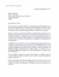 Carta del Expresidente Andrés Pastrana al Expresidente Álvaro Uribe