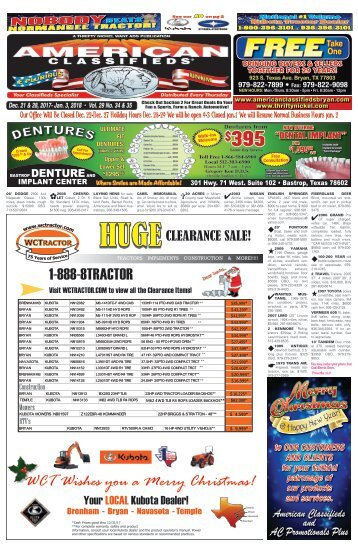 American Classifieds Dec. 21st & Dec. 28th Edition Bryan/College Station