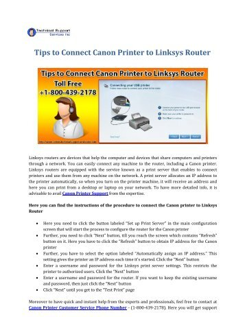 Tips to Connect Canon Printer to Linksys Router