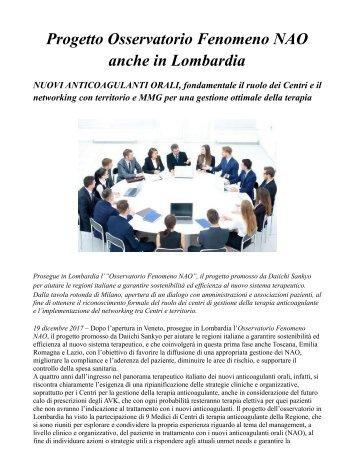 NAO Lombardia, fondamentale il ruolo dei Centri e il networking con territorio e MMG