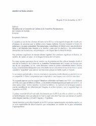 Carta del expresidente Andrés Pastrana a los miembros de la Comisión de Cultura de la Asamblea Parlamentaria del Consejo de Europa