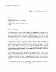 Carta del expresidente Andrés Pastrana a los presidentes del Senado y Cámara de Representantes