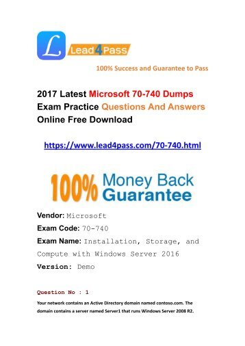 Lead4pass New Microsoft 70-740 Dumps PDF Questions And Answers