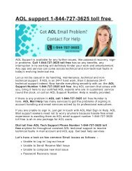 Aol email customer service 1-844-727-3625 toll free