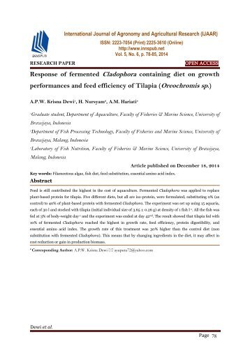 Response of fermented Cladophora containing diet on growth performances and feed efficiency of Tilapia (Oreochromis sp.)