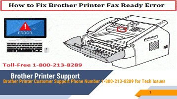 How to Fix Brother Printer Fax Ready Error? 1-800-213-8289