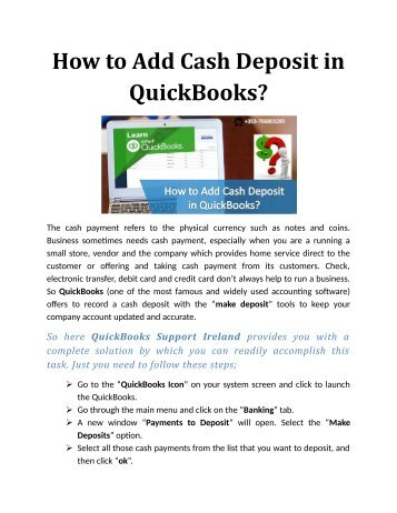 How to Add Cash Deposit in QuickBooks?