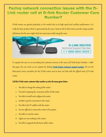 Get effective technical support for your Dlink router by calling the D-link technical support number +1-888-664-3555