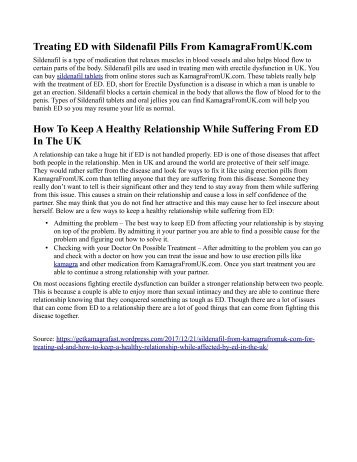 How To Keep A Healthy Relationship While Affected By ED