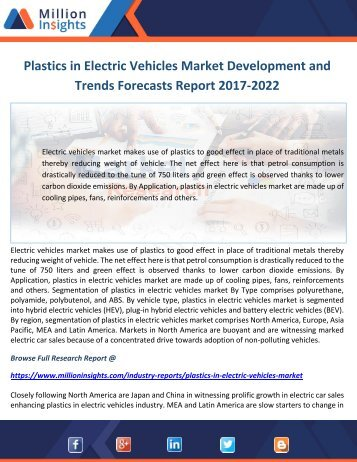 Plastics in Electric Vehicles Market Development and Trends Forecasts Report 2017-2022