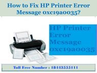 8005769647 How to Fix HP Printer Error Message 0xc19a0035?