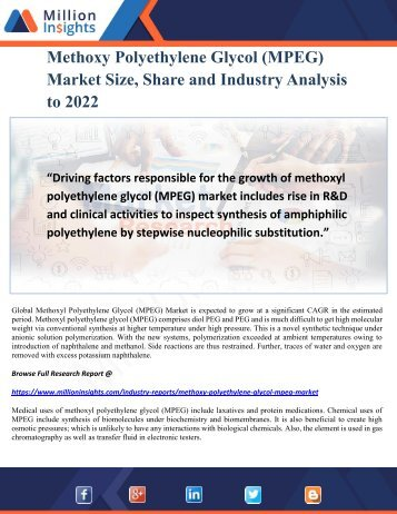 Methoxy Polyethylene Glycol (MPEG) Market Size, Share and Industry Analysis to 2022