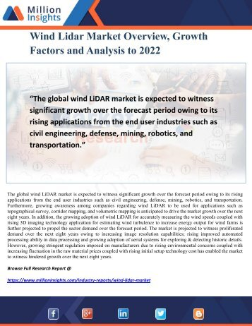 Wind Lidar Market Overview, Growth Factors and Analysis to 2022