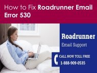 Fix Roadrunner Email Error 530 Call 1-888-909-0535 toll-free number