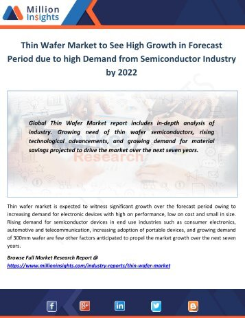 Thin Wafer Market Growth Forecast to 2017-2022