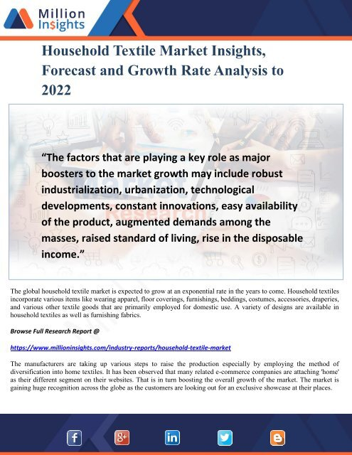 Household Textile Market Insights, Forecast and Growth Rate Analysis to 2022