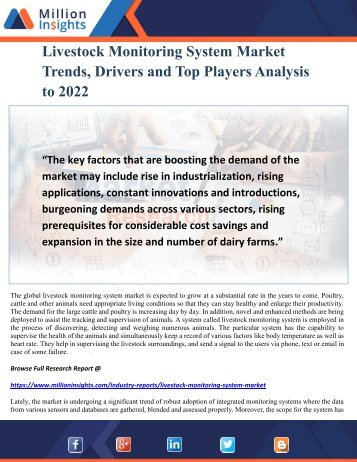 Livestock Monitoring System Market Trends, Drivers and Top Players Analysis to 2022