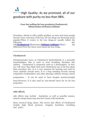 Four hot selling fat loss productsClenbuterol,Sibutramine,Orlistat,Cetilistat