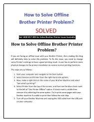 How To Solve Offline Brother Printer Problem