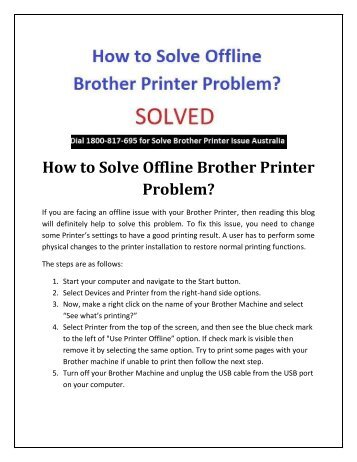 How To Solve Offline Brother Printer Problem
