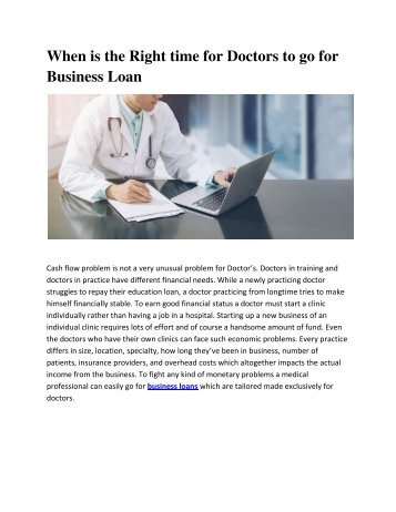 Right time for Doctors to go for Business Loan
