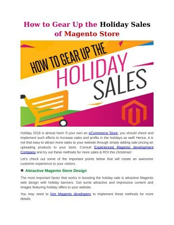 How to Gear Up the Holiday Sales of Magento Store