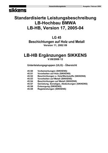 Standardisierte Leistungsbeschreibung LB-Hochbau ... - Sikkens