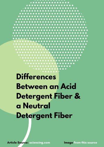 Differences Between an Acid Detergent Fiber & a Neutral Detergent Fiber