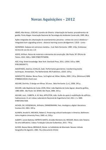 Novas Aquisições – 2012 - Escola de Arquitetura – UFMG