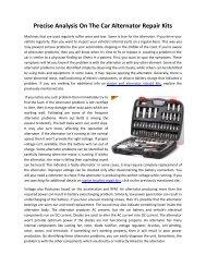 Precise Analysis On The Car Alternator Repair Kits