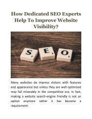 How Dedicated SEO Experts Help To Improve Website Visibility