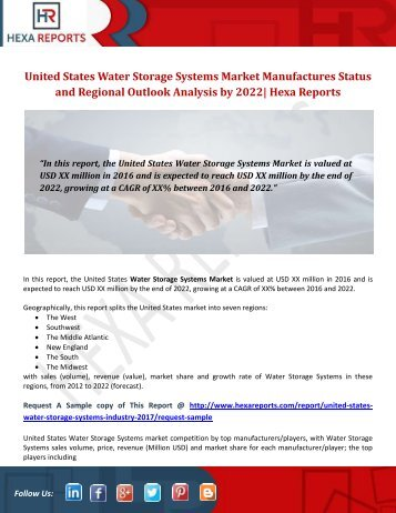 United States Water Storage Systems Market Manufactures Status and Regional Outlook Analysis by 2022 Hexa Reports