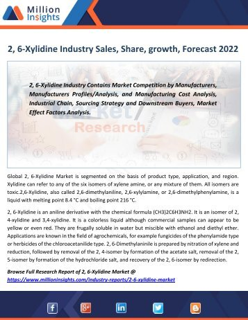 2, 6-Xylidine Industry Sales, Share, growth, Forecast 2022