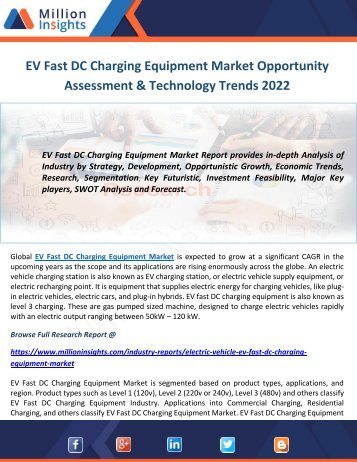 EV Fast DC Charging Equipment Market Opportunity Assessment & Technology Trends 2022