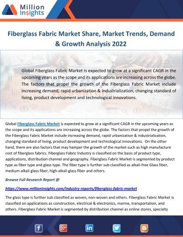 Fiberglass Fabric Market Share, Market Trends, Demand & Growth Analysis 2022