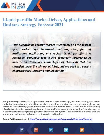 Liquid paraffin Market Driver, Applications and Business Strategy Forecast 2021