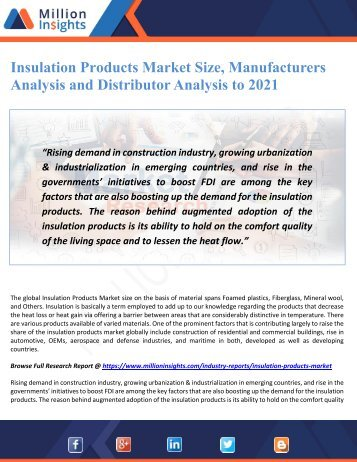 Insulation Products Market Size, Manufacturers Analysis and Distributor Analysis to 2021
