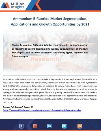 Ammonium Bifluoride Market Segmentation, Applications and Growth Opportunities by 2021