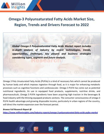 Omega-3 Polyunsaturated Fatty Acids Market Size, Region, Trends and Drivers Forecast to 2022